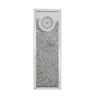 Mirrored 12 Inch Rectangle Crystal Wall Clock