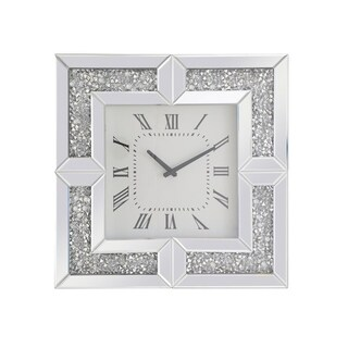 Mirrored 20 Inch Square Crystal Wall Clock with Finish
