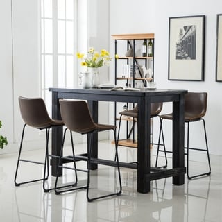 Link to Bronco Antique Wood Finished Bar Dining Set: Table and Four Bar Stools Similar Items in Dining Room & Bar Furniture
