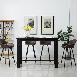 Bronco Antique Wood Finished Bar Dining Set: Table and Four Bar Stools