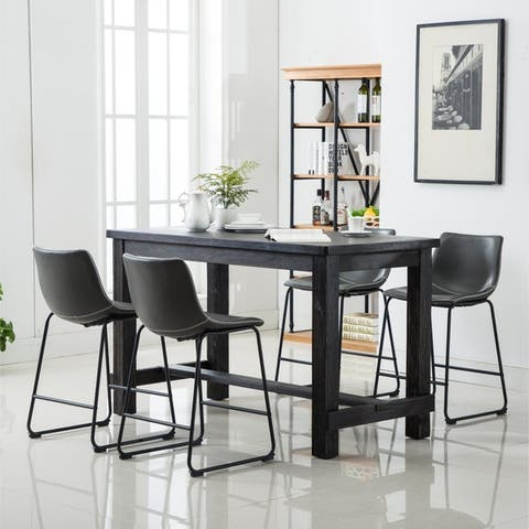 Bronco Antique Wood Finished Counter Height Dining Set: Table and Four Chairs