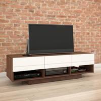 Nexera Sequence 60 inch TV Stand, Walnut and White