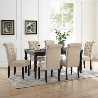 Leviton Urban Style Wood Dark Wash Turned-Leg Dining Set: Table and 6 Chairs