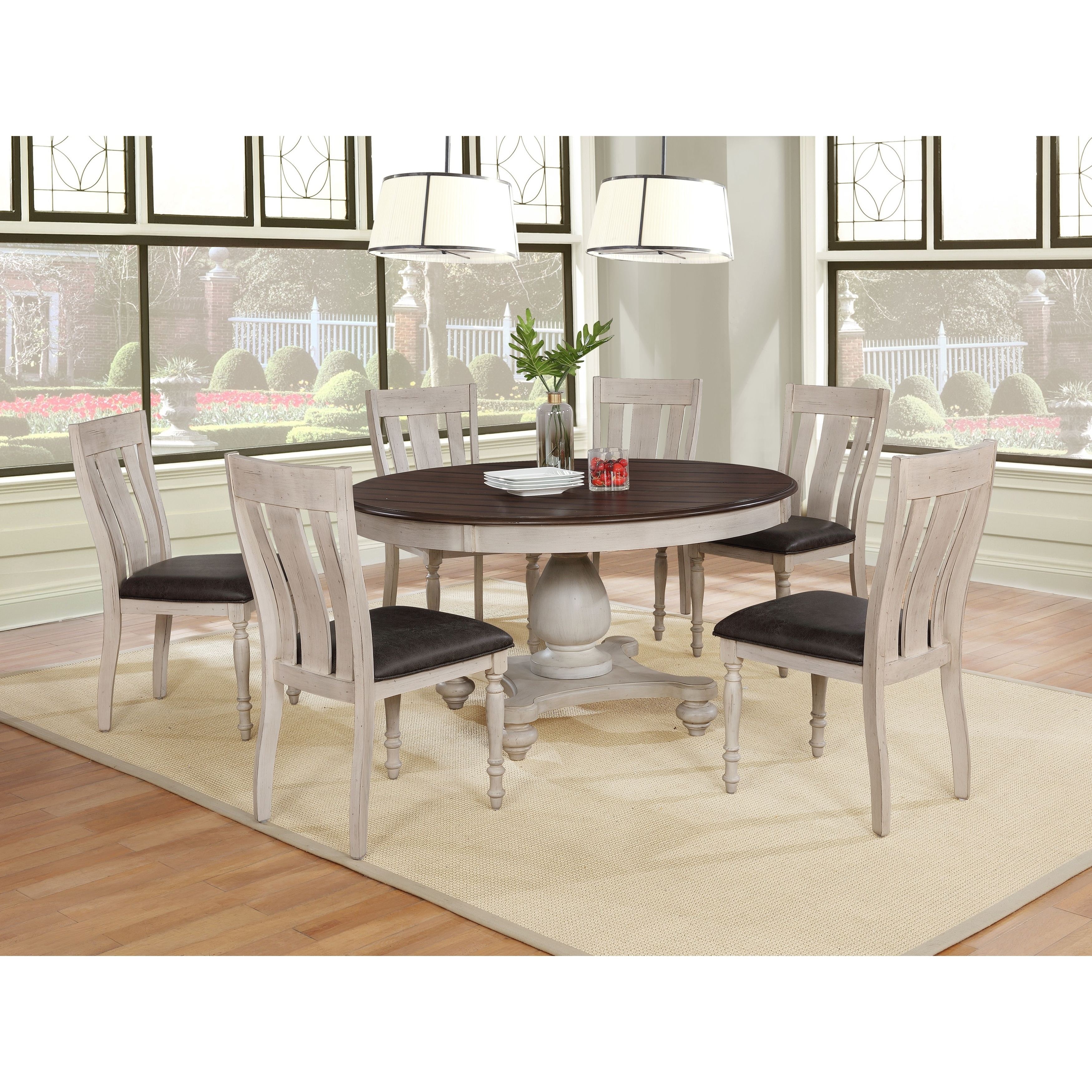 Arch Weathered Oak Dining Set Round Table Six Chairs