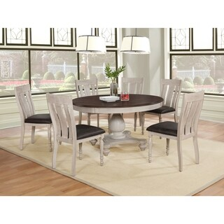 Arch Weathered Oak Dining Set: Round Table, Six Chairs