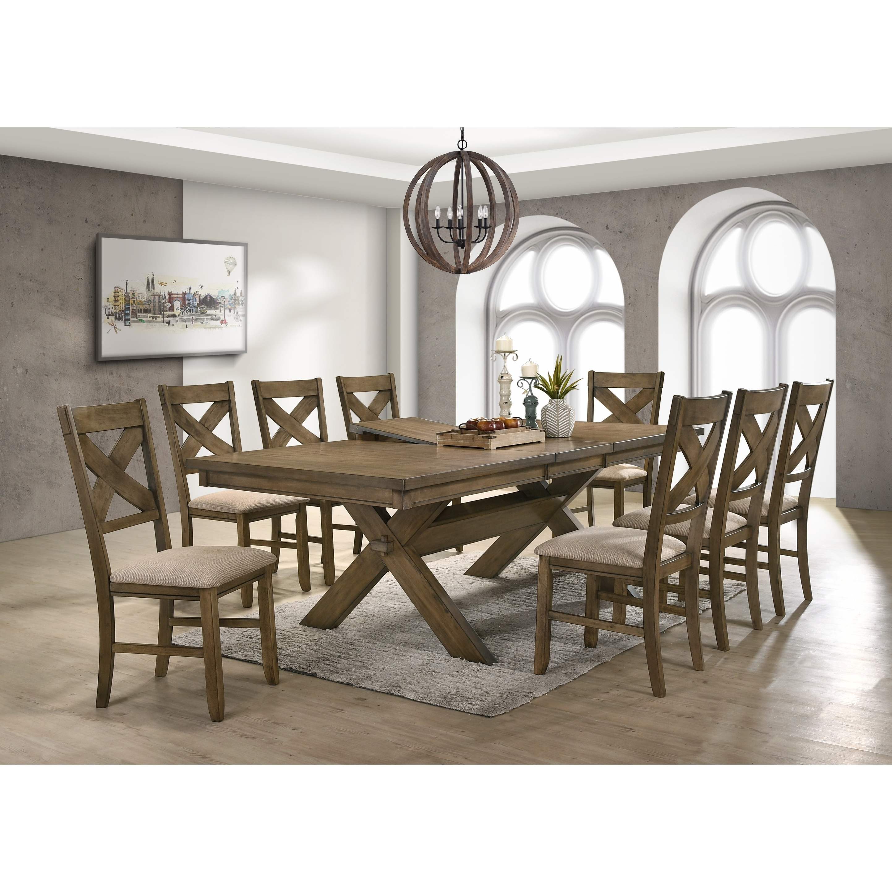 Raven Wood Butterfly Leaf Dining Table and 9 Chairs