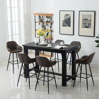 Bronco Antique Wood Finished Bar Dining Set: Table and Six Bar Stools