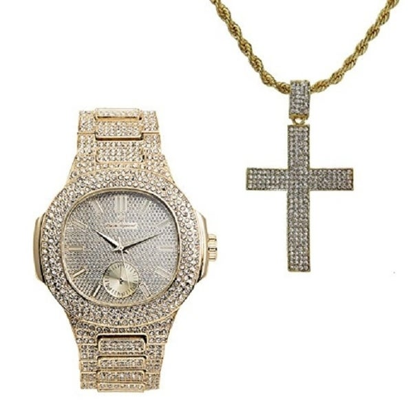 Shop hip hop iced out cross charm on rope necklace with bling mens hip hop icex27d out cross charm on rope necklace with bling mens aloadofball Choice Image
