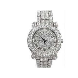 The Ultimate Silver Iced Out Hip Hop Bling Bling Watch - L0504 Silver - Silver-Tone - 9.5""