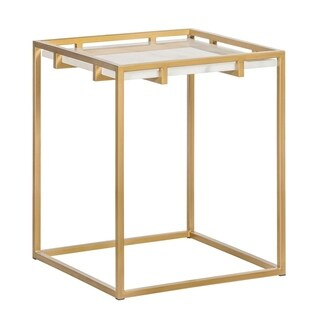 Tommy Hilfiger Ellery Satin Goldtone Metal Side Table with Marble Top