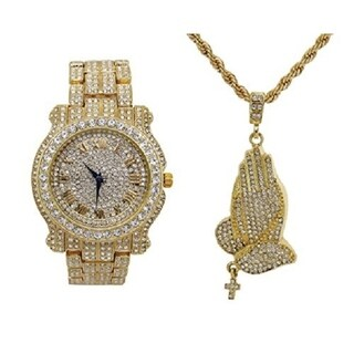 Praying Hands Ice'd Out Pendent with Gold Tone Necklace with Fully Blinged Out Luxurious Gold Watch - L0504-SSS41Gold