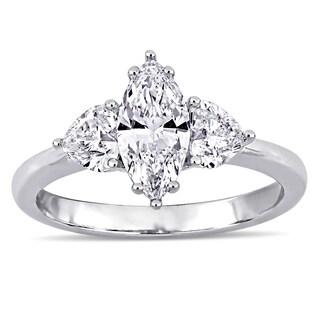 Miadora 18k White Gold 1 3/4ct TDW Diamond 3-Stone Engagement Ring
