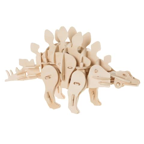 3D Wooden Stegosaurus Puzzle-Dinosaur Building Model STEM Hey! Play!