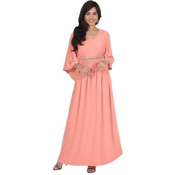 Shop KOH KOH Womens Half Batwing Sleeve Elegant Empire Waist Maxi ... 8d0c91ef5