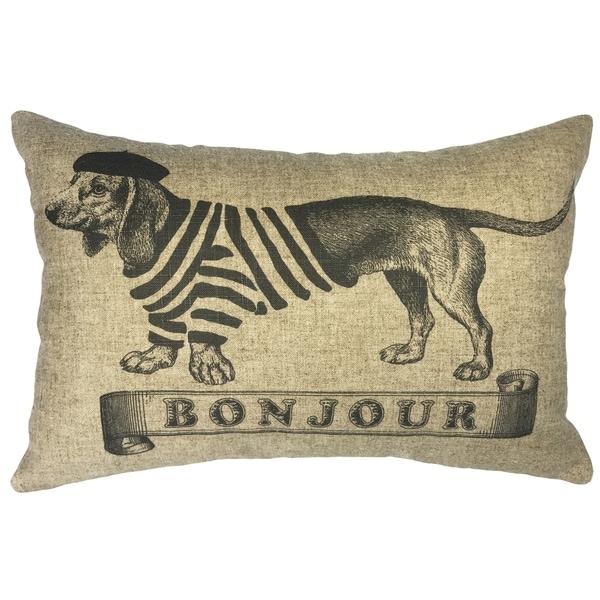 Bonjour Dog Linen Pillow