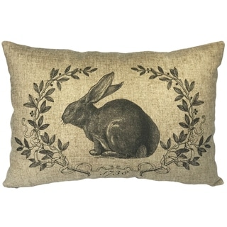 French Rabbit Linen Pillow