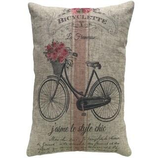 French Bike Striped Linen Pillow