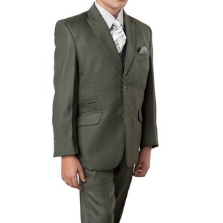 Boys Suit Olive Ticket Pocket 5 Pieces Classic Fit Suit
