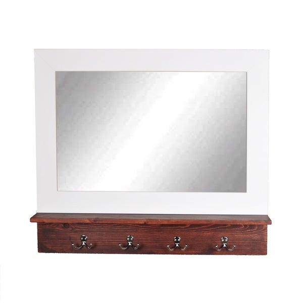 Small Matte White Mirror With Dark Brown Shelf And 4 Silver Hooks