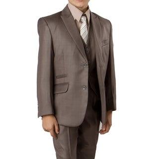 Boys Suit Mocha Khaki Shade Ticket Pocket 5 Pieces Classic Fit Suit