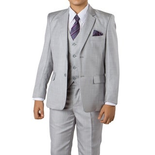 Boys Suit Light Grey Sharkskin 6 Pieces Classic Fit Suits