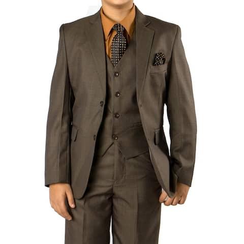 Boys Suit Olive Sharkskin 6 Pieces Classic Fit Suits