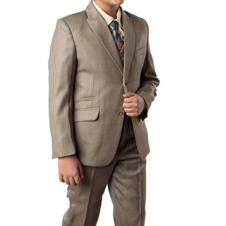 Boys Suit Sage Green Ticket Pocket 5 Pieces Classic Fit Suit