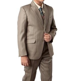 Boys Suit Sage Green Ticket Pocket 5 Pieces Classic Fit Suit