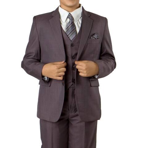 Boys Suit Egg Plant Purple Shade Sharkskin 6 Pieces Classic Fit Suits