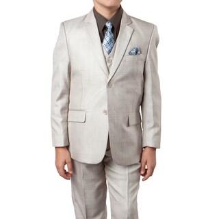 Boys Suit Beige Sharkskin 6 Pieces Classic Fit Suits