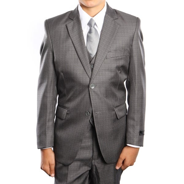 Boys Suit Grey Houndstooth 5 Pieces Classic Fit Suits