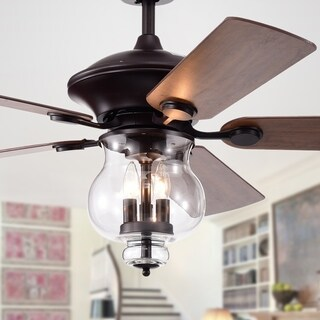 Topher 52-Inch 5-Blade Antique Bronze Lighted Ceiling Fans with Clear Glass Shade (Remote Controlled)