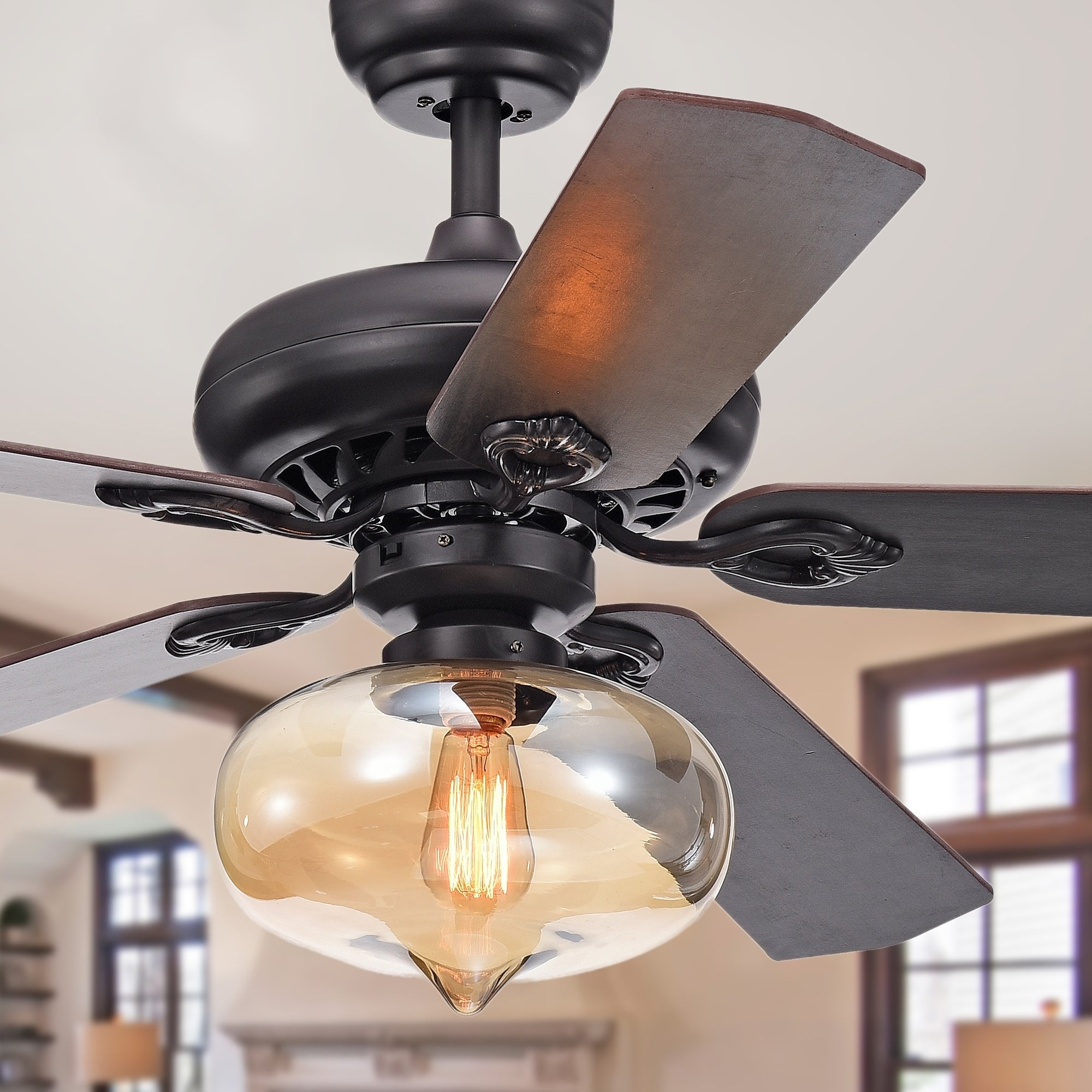 Figuera 52 Inch 5 Blade Antique Black Lighted Ceiling Fans W Clear Amber Glass Shade Remote Controlled 2 Color Option Blades Overstock 22731304