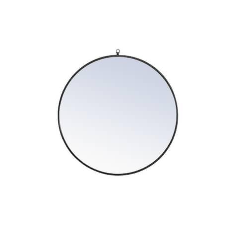 Strick & Bolton Patti Metal 36-inch Round Mirror with Decorative Hook