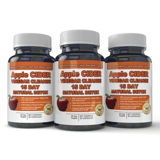 Apple Cider Vinegar Cleanse Natural Detox and Weight Loss (3 bottles x 30 Capsules)