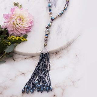 Catherine Malandrino Blue Beaded Tassel Lobster Lock Necklace