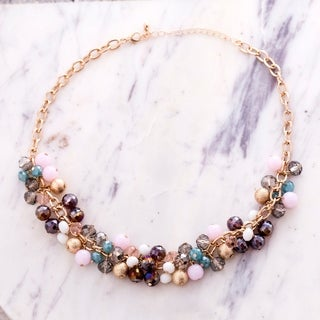Catherine Malandrino Gold Multi-Colored Crystal Rolo Necklace