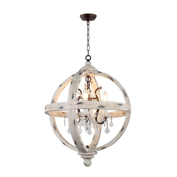 4 Light Candle Style Globe Chandelier in withered white wood finish. Opens flyout.