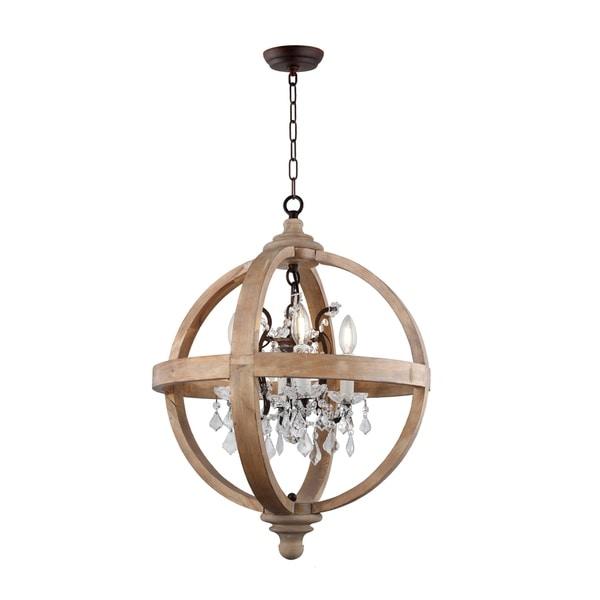 Modern Chandelier Lighting Globe 4 Lights Wood Ceiling: Shop 4 Light Candle Style Globe Chandelier In Natural Wood