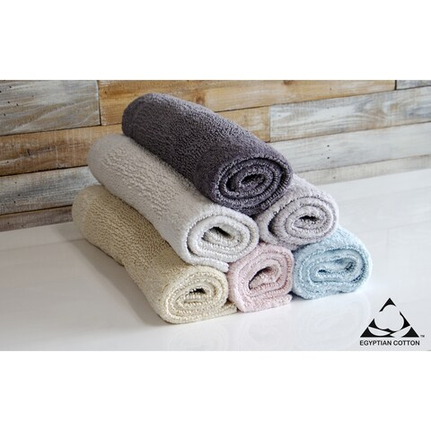 Egyptian Cotton Reversible Bath Rug Inset Border 17 X 24