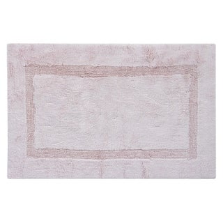 Egyptian Cotton Reversible Bath Rug Inset Border 21 x 34