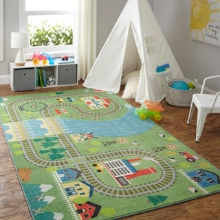 Mohawk Home Prismatic Train Track Play Area Rug - 5' x 8'