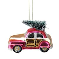 """4.75"""" Festive Glittered Car with Christmas Tree on Top Glass Ornament"""