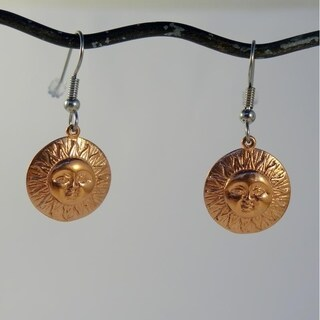 Handmade Copper Spirit 'Here comes the Sun' Earrings (Indonesia)