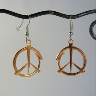 Handmade Peace Earrings in Copper by Spirit Tribal Fusion (Indonesia)