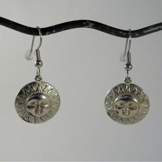 Handmade White Brass Spirit 'Here comes the Sun' Earrings (Indonesia)