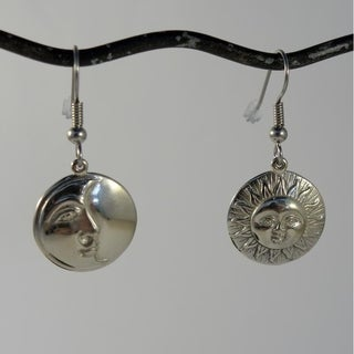 Handmade White Brass Sun & Moon Eclipse Dangle Earrings (Indonesia)