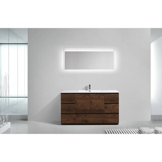 Moreno Bath MOA 60 Inch Free Standing Modern Bathroom Vanity With Reinforced Acrylic Single Sink