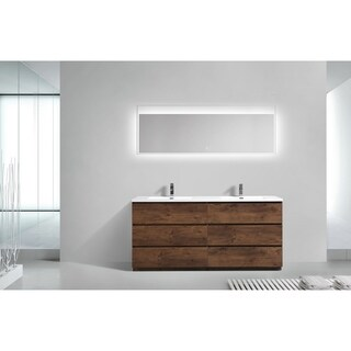 Moreno Bath MOA 72 Inch Free Standing Modern Bathroom Vanity With Reinforced Acrylic Double Sink