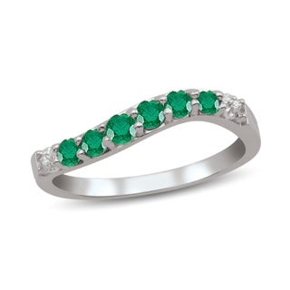 Sterling Silver Genuine Birthstone Ring with Diamond Accent